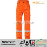 65% cotton 34% polyester 1% carbon FR Europe Trousers with reflective tape