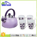 3pcs kettle sets with ceramic cups stainless steel non-electric water whistling kettle for induction cook