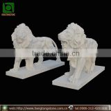 Outdoor Decorative White Marble Life Size Lion Statues