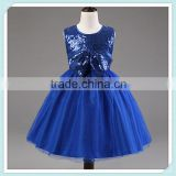 Royal Blue Sequins Tulle Flower Girl Dress Pageant Bridal Party Dress Toddler Baby Girl Dress for Wedding Fashion Kids Wear