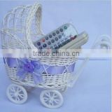 SMALL or LARGE Baby Pram Hamper Wicker Basket for Baby Shower Gifts