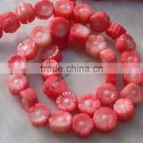 "16"" 10mm pink coral beads carved flower shaped loose"