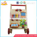 Wholesale children learning walk wooden baby stroller top quality wooden baby stroller W08J002
