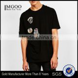 MGOO Newest Arrival Beautiful Embroidered T-shirt Custom Handmade Animal Pattern Tees Mens Black Cotton Tshirts