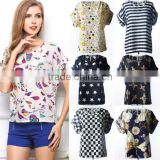 HOT Women Casual Short Sleeve Shirt Loose Summer Chiffon T-shirt Tops Blouse