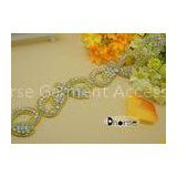 Light Gold Base Bow Shape Crystal Rhinestone Trimming For Dress