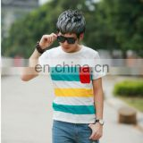 Peijiaxin Fashion Casual New Design with a Pocket Mens Polo Collar Striped T shirt