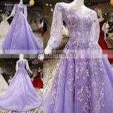 LS00396 evening dress fashions women for work lace up with sequined long sleeve purple muslim dresses
