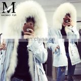 Custom Made Design Cheap Winter Woman Genuine Raccoon Fur Denim Coat Wholesale Fur Coats