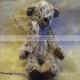 rare material simulated mohair movable joints Teddy bear tied a bow long plush toy