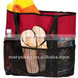 beach bag with mesh pockets and wrap around webbing handles