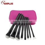 high end personalized hair brush set/ 8 piece black makeup brush/China beauty brushes set