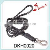 Hot sale leather key chain customized braided leather rivets key chain,neck hanging leather key chain,key rope