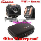 170 Degree Wide Angle 60M Waterproof WIFI Sport Camera SOOCOO S60 with Night Vision LED & Waterproof Wrist Watch Remote Control