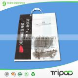 plastic shopping bag with hand length handle, enviromental plastic bags with reinforced handle,fancy plastic bag for garment