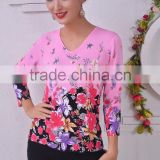 Ladies 2016 spring/summer crew neck long sleeve printing knitted sweater pullover Bright flowers stamp
