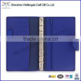 compact bright blue leather organizer ring binder notebook wholesale factory
