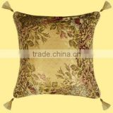 Arab Beautiful Golden Silk Fabric Colorful Flower with Four Tassel Round Design Sofa Cushion Cover GS-010
