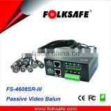 8-Channel Passive Video Transceiver Hub (female BNC coax pigtail), Folksafe Model FS-4608SR-III
