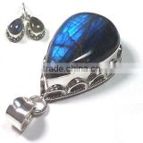 925 silver blue fire labradorite gemstone jewelry sets Handmade jewelry genuine stamp 925 sterling silver