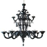 Modern Glass Chandelier Lighting Black Pendant Hanging Light Fixture 18 Arms Suspension Lamp CZ3541/18