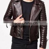 Stylish Men's Motorcycle Brown Genuine Leather Jacket