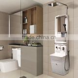 Shower set with wash basin, mirror, shelf, rain shower head & hand shower (Cebien 'All In 3R')