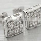 sterling silver cz earrings screw back micro paved