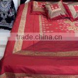 Manufacturers Brocade silk Embroidery Mirror work Bedding set