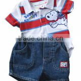 baby polo rompers with stripe denim short carters baby's clothing set
