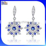 Custom Snow Flake Snowflake Drop Earring, Blue and Clear Round Cubic Zirconia Dangle Synthetic Earrings Silver