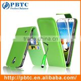 Set Screen Protector Stylus And Case For Samsung Galaxy S4 I9500 , Green Wallet Leather Case Cover