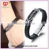 Stainless Steel Men Fashion Jewelry Bracelet Valentine's day Gift Genuine Leather Bracelet with Magnetic Buckle