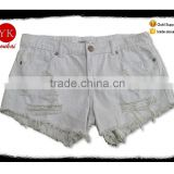 Women denim fashion ripped hot sale girls shorts with distress white shorts raw bottom hem shorts pants