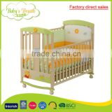WBC-39A factory direct sales unfinished wooden baby cots green bed, baby cots swings