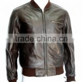 Man Dark Brown Nappa Soft Real Leather Bomber Style Retro Jackets All Size