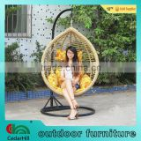 Hot sale high quality outdoor leisure synthetic wicker patio garden swing chair ,UV resistant (3000Hours),Weatherproof