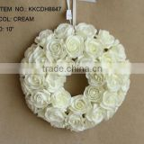 "2014 New Style Artificial PE Flower 10"" Artificial PE Wedding Rose Hanging Heart Rose Flower Wreath"