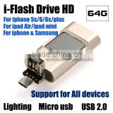Timiya Brand 3 IN 1 OTG USB 2.0 Micro Flash Drive for iphone ipod ipad android and pc