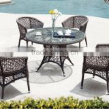New Style Rattan Coffee table set Hotel Furniture - Poly rattan coffee set (1.2mm alu frame powder coated,5cm thick cushion)
