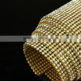Factory price 45x120cm iron on glue rhinestone mesh roll triming h metal aluminum base and super shine for clothing,shoes