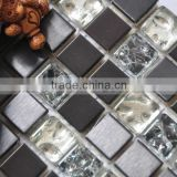 Ice crack glass mix metal mosaic tile, suitable for hotel, bar