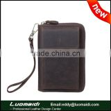 Fashion style men wallet with mobile phone holder, men's genuine leather clutch bag with multi-card bits