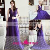 K870 V Neck Sleeveless elegant Tulle Pruple long Prom dresses with beading belt vestido de festa