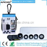 APEXEL 5 in 1 Phone lens set 0.63x Wide Angle+15x Macro+198 fisheye+2x zoom+Filter 5 in 1 phone lens kit for iPhone iPad Samsung