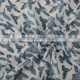 Ethnic Block Print Fabric By Yard Cotton Voile For Upholstery Bird Print Sanganeri Throw