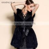 Hot sale dark blue sliver fox fur vest with leather vest