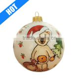 round hand painted pottery christmas ball ornament