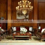 Vintage Royal Style Castle Leather Sofa Luxury Button Tufted Golden Sofa Set Palace Design Living room Furniture Set