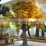Home garden decoration 100cm to 1000cm Height artificial indoor live plastic ficus red with green big maple tree EZLS05 1010